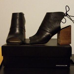 Peep toe, block heel, open tie back shoe